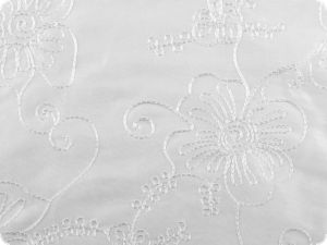 Taffeta embroidered, flowers, white 136cm