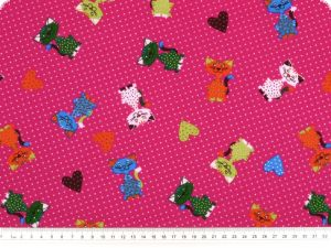 Children fabric, cats, violet-multicolour, 140cm