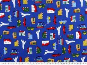 Children fabric, car and plane , cotton, multicolour, 140cm