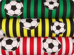 Cotton print, footbal and stripes, green and black, 140cm