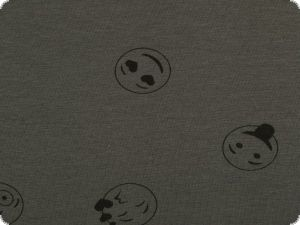 Nice cotton jersey, funny smilies, dark grey, 150cm