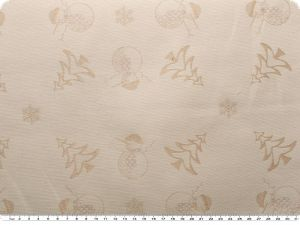 Christmas fabric jacquard, snowman, beige-red, 163cm