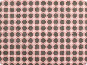 Cotton poplin, dots, rose pink-grey, 142cm