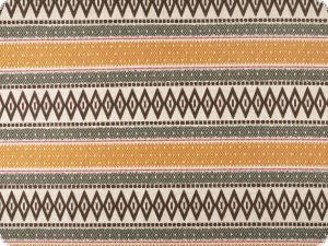 Deco fabric, horizontal african pattern, brown-yellow, 140cm