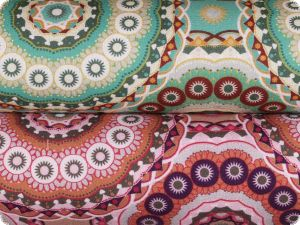 Decoration fabric, circles, percal cotton, turquoise, 140cm