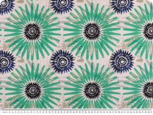 Decoration fabric, flowers, percal cotton, turquoise