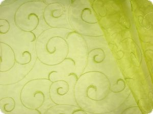 Organza with embroidery, yellow green, ca. 145cm