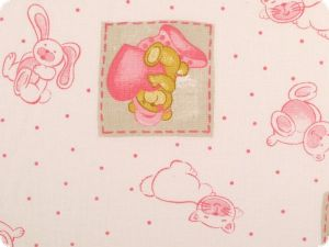 Decoration fabric, rabbits-bears-cats, white-pink-honey, 145