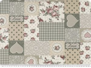 Deco fabric, romantic patch, grey-beige-rose, 140cm