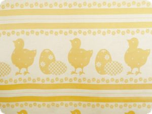 Easter fabric, jaquard, chicks and eggs, yellow