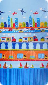 Fancy deco fabric , cars and trains, multicolour. 280cm