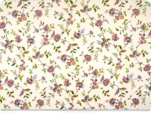 Decoration fabric, flowers, ecru-multicolour, 140cm