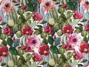 Panama deco fabric, cactusses, digital print, green-red,