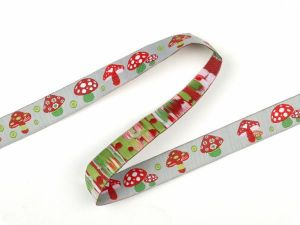 Jacquard ribbon,  for decoration, mushrooms, red-gray 16mm