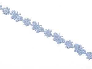 Binding, flowers and butterflies, light blue, 1,5cm