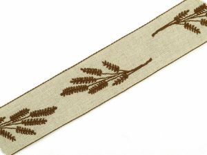 Ribbon wirh flower embroidery, ecru-brown, 40mm