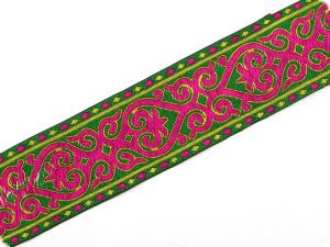 Jacquard ribbon,  for decoration, ornament, green-pink, 50mm