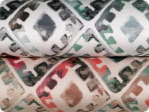 Velour upholstery fabric 'Soft', diamonds, cream-green-red