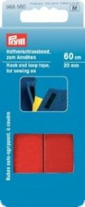 Hook and loop tape, for sewing on, 20mm, L:60cm, red