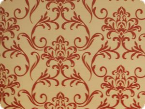 High quality deco fabric, flowers, beige-red
