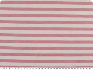 Cotton fabric, stripes, satinlike, pink-white, 140cm
