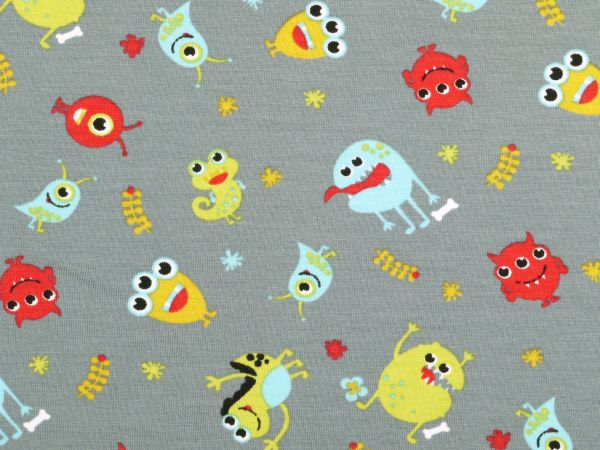 Cotton jersey for children little monsters white 150cm for Children s jersey fabric uk