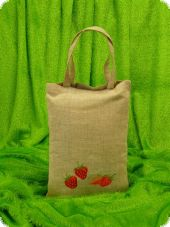 Linen bag, embroidered strawberries