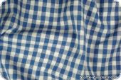 Cotton fabric with checks, ca.1cm, and hearts, blue, 140cm
