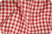 Cotton fabric with checks, ca.1cm, and hearts, red, 140cm
