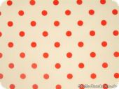 Cotton print with dots, 1cm, white-red, ca. 140cm