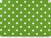 Cotton print with dots, 1cm, green-white, ca. 140cm