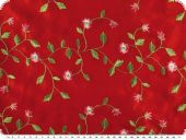 Taffeta embroidered, flowers, red, 135cm
