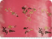 Taffeta embroidered, flowers, pink, 136cm