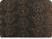 Taffeta embroidered, flowers, darkbrown, 133cm