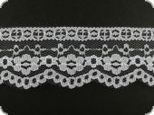 Lace, flower embroidery on knitted fabric, white, 50mm