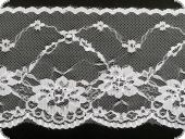 Lace, flower embroidery on knitted fabric, white, 95mm