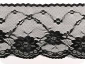 Lace, flower embroidery on knitted fabric, black, 95mm