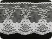 Lace, flower embroidery on knitted fabric, white, 90mm