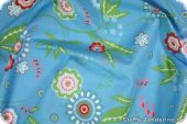 Cotton fabric with floral pattern, jeans blue, ca. 140cm