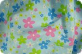 Cotton fabric, flowers, light blue, 140cm