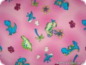 Cotton print, multicoloured with dinosaur, pink