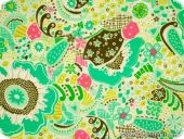 Children fabric, multicoloured flowers, turquoise-green