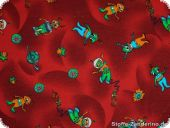 Children fabric, likable aliens, red, ca. 140cm