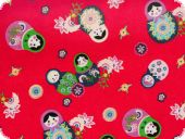 Children fabric, matryoshka, red  cotton print, for garme