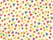 Cotton print, hearts and flowers, white, 140cm