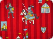Leftover cotton print, Knights and Castels, red, 160x140cm