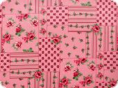 Nice cotton print, flowers-patch, pink, 140cm