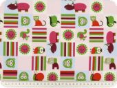 Children fabric, animals, pink-multicolour, 140cm