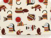 Children fabric, animals, ecru-multicolour, 140cm