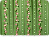 Cotton print,  hearts and flowers, green-multicolour, 140cm